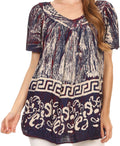 Sakkas Audry Flutter Sleeve V-Neck Batik Top with Sequins and Embroidery#color_Navy
