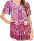 Sakkas Audry Flutter Sleeve V-Neck Batik Top with Sequins and Embroidery#color_Purple