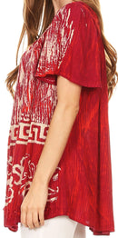 Sakkas Audry Flutter Sleeve V-Neck Batik Top with Sequins and Embroidery