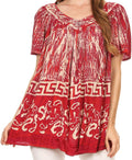 Sakkas Audry Flutter Sleeve V-Neck Batik Top with Sequins and Embroidery#color_Red