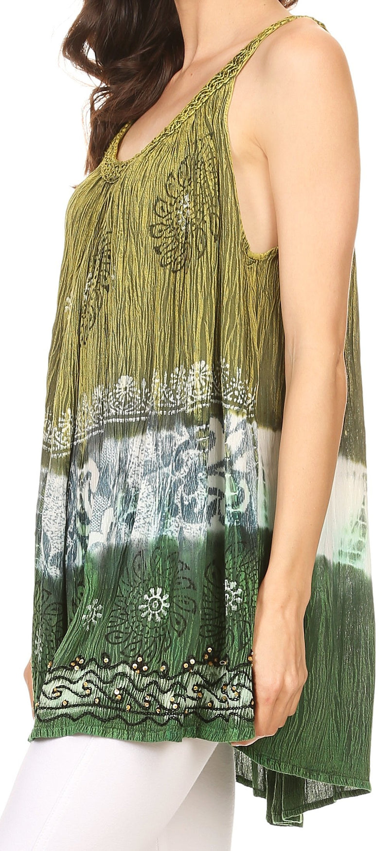 Sakkas Cecily Crinkle Floral Batik Tank with Sequins and Embroidery