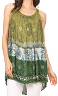 Sakkas Cecily Crinkle Floral Batik Tank with Sequins and Embroidery#color_Lemon Green