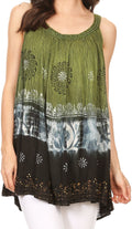 Sakkas Cecily Crinkle Floral Batik Tank with Sequins and Embroidery#color_Green