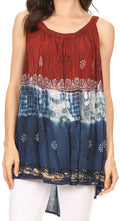 Sakkas Cecily Crinkle Floral Batik Tank with Sequins and Embroidery#color_Maroon