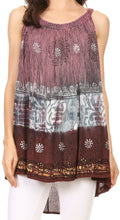 Sakkas Cecily Crinkle Floral Batik Tank with Sequins and Embroidery#color_Purple