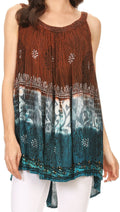 Sakkas Cecily Crinkle Floral Batik Tank with Sequins and Embroidery#color_Rust