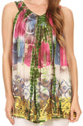 Sakkas Melanie Tie Dye Batik Tank with Sequins and Embroidery#color_Green