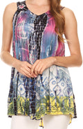 Sakkas Melanie Tie Dye Batik Tank with Sequins and Embroidery#color_Navy