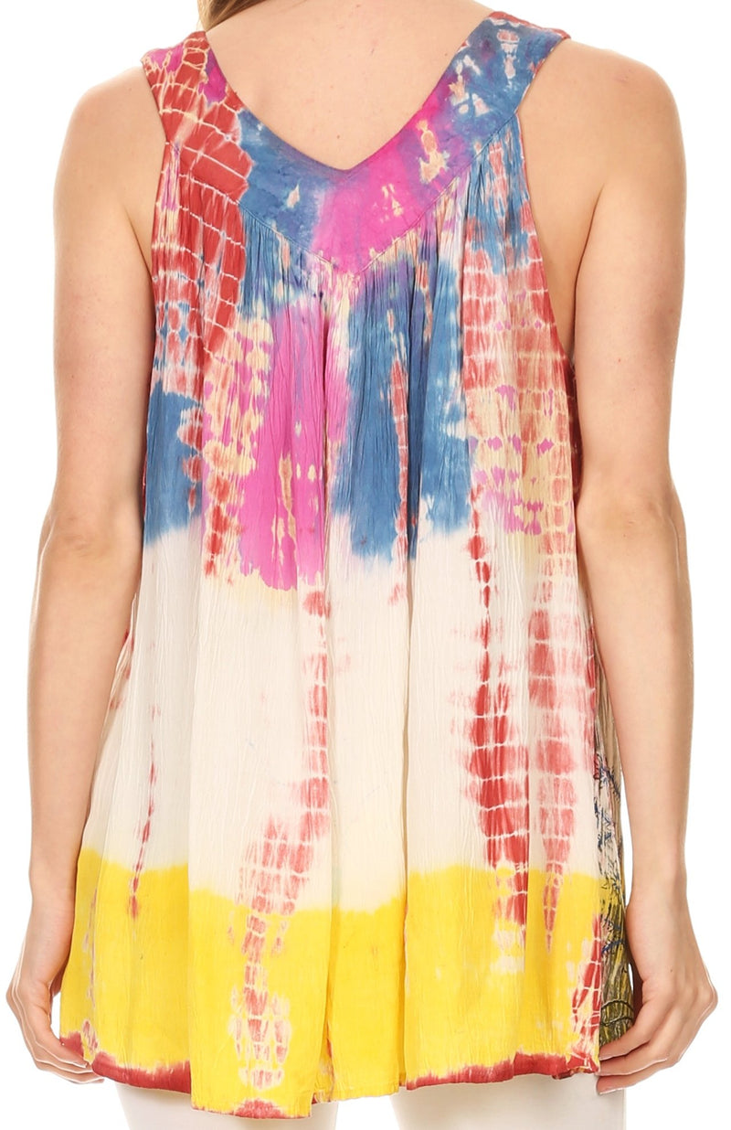 Sakkas Melanie Tie Dye Batik Tank with Sequins and Embroidery