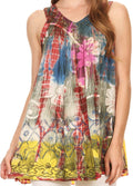 Sakkas Melanie Tie Dye Batik Tank with Sequins and Embroidery#color_Rust