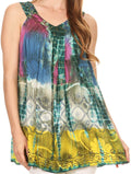 Sakkas Melanie Tie Dye Batik Tank with Sequins and Embroidery#color_Sea Green