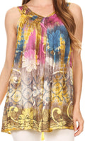 Sakkas Melanie Tie Dye Batik Tank with Sequins and Embroidery#color_Yellow