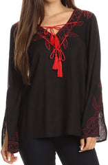Sakkas Kile Bell Long Sleeved Embroidered Tassel V Neck Tie Wide Blouse Shirt Top