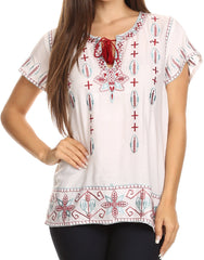 Sakkas Jile Wide Boxy Embroidered Short Sleeve Tassel Tie Top Shirt Tunic Blouse