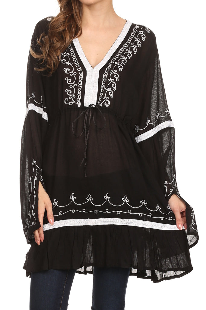 Sakkas Melina Embroidered V-Neck Kimono Sleeves Rayon Tunic Blouse / Cover-up