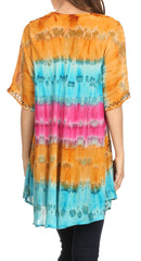 Sakkas Adela Batik Embroidered Tie Dye Sleevess Relaxed Fit Rayon Blouse / Top