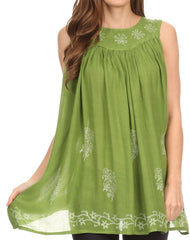 Sakkas Halia Sleeveless Floral Printed Blouse Top With Drop Neck And Draped Fit