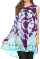 Sakkas Aspen Ombre Tie Dye Floral Embroidered Tank Top Blouse / Top