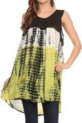 Sakkas Mariah Tie Dye Embroidered Sleeveless V-neck Relaxed Fit Tank / Blouse
