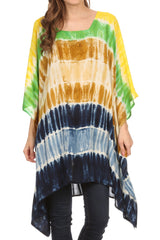 Sakkas Kalinda Embroidered Tie Dye Loose Fit Caftan Poncho Tunic Top / Cover-Up
