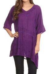 Sakkas Danta Lightweight Embroidered Asymmetrical Blouse With Mid Length Sleeve