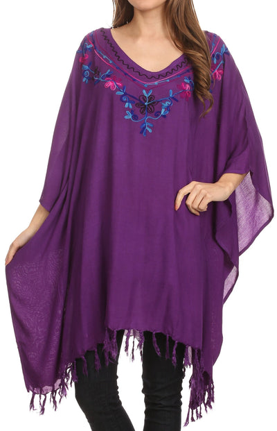 Sakkas  Ballary Embroidered Square Poncho Top Open Sleeves Cover Up With Fringe