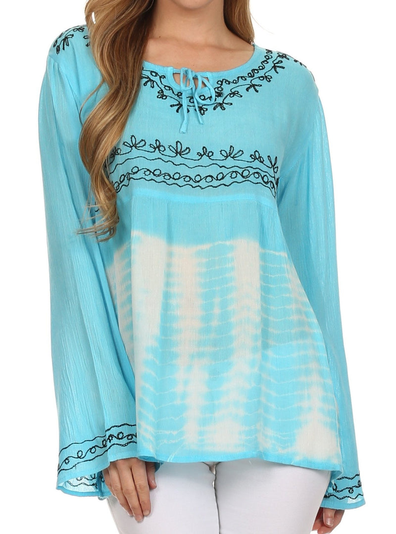 Sakkas Carla Tie Dye Embroidered Tunic Top / Blouse