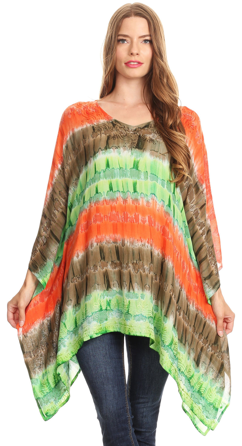Sakkas Adalwin Desert Sun Lightweight Circle Ponch Tunic Top Blouse W / Embroidery
