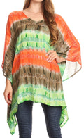 Sakkas Adalwin Desert Sun Lightweight Circle Ponch Tunic Top Blouse W / Embroidery#color_Coral / Brown