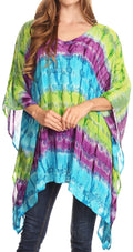 Sakkas Adalwin Desert Sun Lightweight Circle Ponch Tunic Top Blouse W / Embroidery#color_Green / Purple