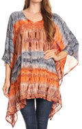Sakkas Adalwin Desert Sun Lightweight Circle Ponch Tunic Top Blouse W / Embroidery#color_Grey / Coral