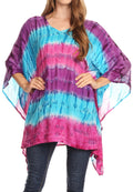 Sakkas Adalwin Desert Sun Lightweight Circle Ponch Tunic Top Blouse W / Embroidery#color_Purple / Blue