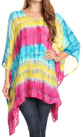 Sakkas Adalwin Desert Sun Lightweight Circle Ponch Tunic Top Blouse W / Embroidery#color_Turquoise / Yellow