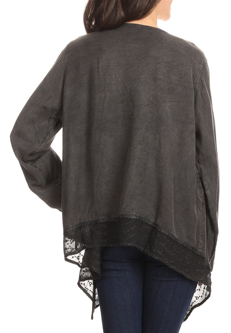 Sakkas Isenia Cardigan Open Front Kimono Long Sleeve Embroidered Top Blouse Lace