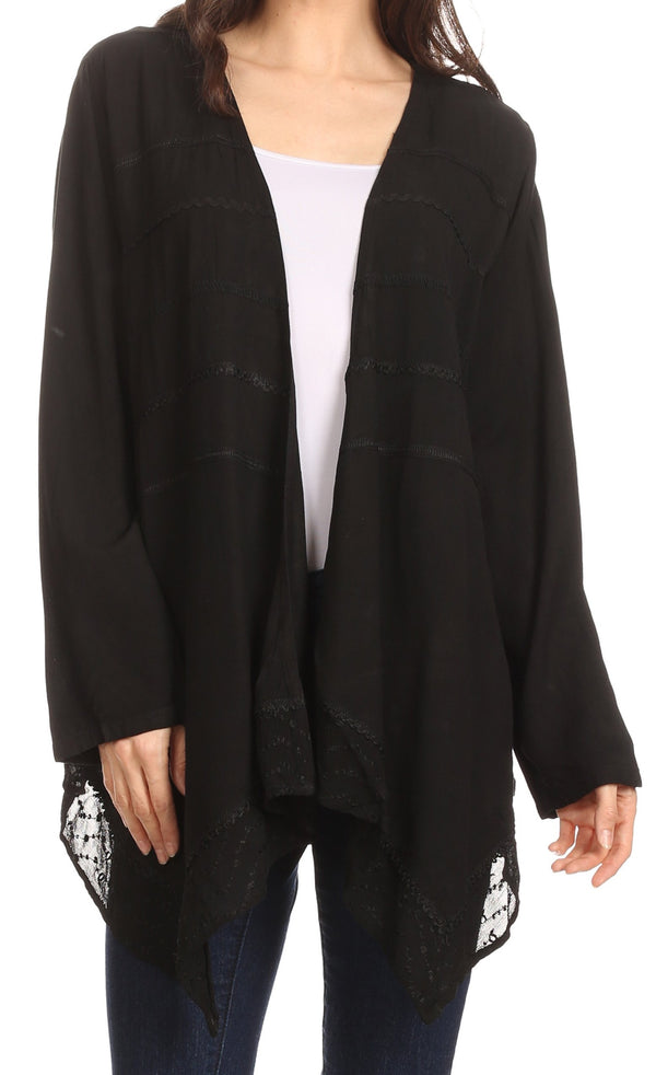 Sakkas Isenia Cardigan Open Front Kimono Long Sleeve Embroidered Top Blouse Lace#color_Black