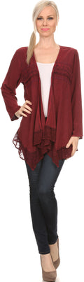 Sakkas Isenia Cardigan Open Front Kimono Long Sleeve Embroidered Top Blouse Lace#color_Burgundy
