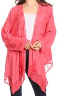 Sakkas Isenia Cardigan Open Front Kimono Long Sleeve Embroidered Top Blouse Lace#color_Coral