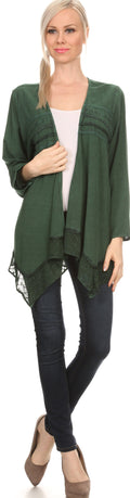 Sakkas Isenia Cardigan Open Front Kimono Long Sleeve Embroidered Top Blouse Lace#color_Green