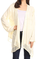 Sakkas Isenia Cardigan Open Front Kimono Long Sleeve Embroidered Top Blouse Lace#color_Ivory
