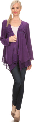 Sakkas Isenia Cardigan Open Front Kimono Long Sleeve Embroidered Top Blouse Lace#color_Purple