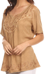 Sakkas Isabeli Leaf Embroidered Blouse Top Shirt With Cap Sleeves And Wide Neck