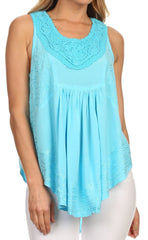 Sakkas Aubrey Delicate Draped Ruffled Embroidered Scooped Neck Sleeveless Blouse