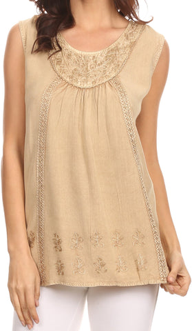 Sakkas Jil Wide Tank Top Sleeveless Embroidered Blouse With Embroidery Lace