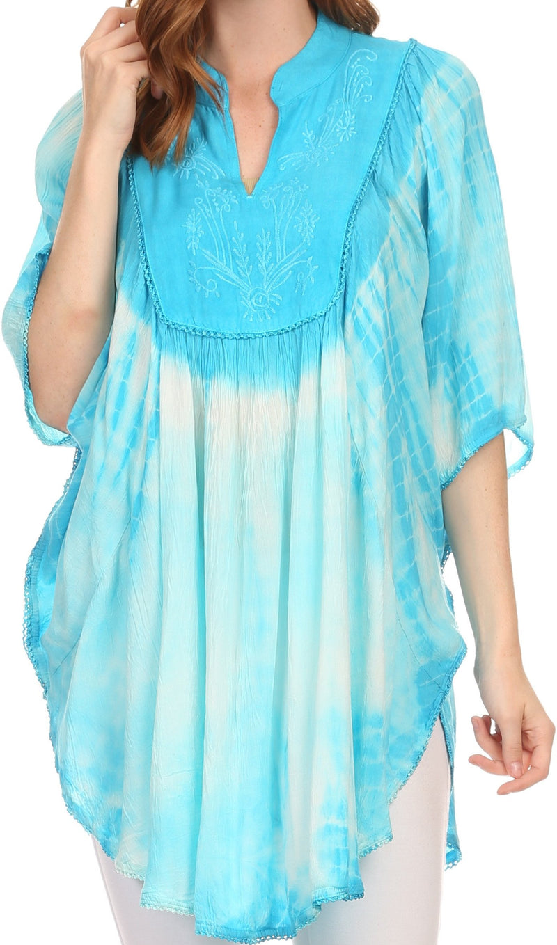 Sakkas Martina Delicate Embroidered Tie Dye Poncho Top / Cover Up