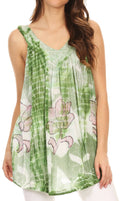 Sakkas Jasmin Sleeveless V Neck Marble Tie Dye Tank Top Blouse with Embellishment#color_Apple Green