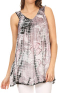 Sakkas Jasmin Sleeveless V Neck Marble Tie Dye Tank Top Blouse with Embellishment#color_Black / Cayenne