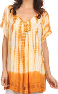 Sakkas Bee Embroidered V-Neck Blouse Shirt Top With Tie Dye Floral Embroidery
