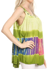 Sakkas Aunalee Embroidered Three Color Tie Dye Bohemian Semi-Opaque Blouse Shirt