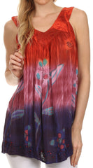Sakkas Kyna Sequin Embroidered Relaxed Fit V-Neck Sleeveless Blouse
