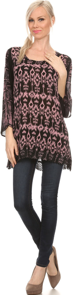 Sakkas Svetlana Scoop Neck Long Sleeve Aztec Print Crochet Hem Blouse Shirt Top